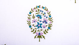 Palmette florale roses et neige