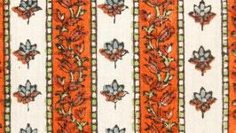 Tissu moghol aux frises oranges