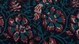 Rinceaux gris bleu aux fleurs bigarrées