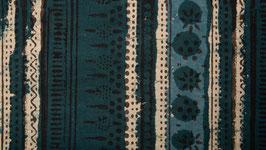 Rayures florales bleu ocré