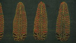 Ajrak aux fleurs de lupin ocre rouge