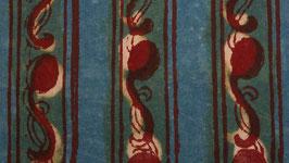 Rayures florales bleu vert délavé