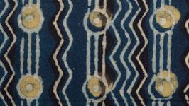 Frise indigo ponctuée de cercles jaunes