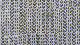 Batik aux lignes florales bleu pastel