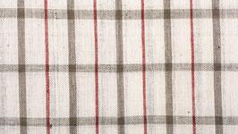 Tissu bio aux carreaux rouges et gris