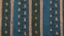 Frises florales kaki et indigo