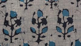 Batik fleuri anthracite et indigo