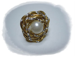 Aludrahtring gold-silber mit Perle