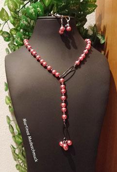 Perlenset Altrosa-Anthrazit