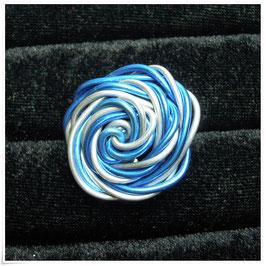 Aludrahtring blau-silber