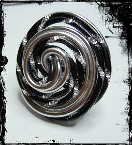 Aludrahtring schwarz-silber