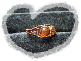 Wire wrapping Ring mit Cracle Perlen