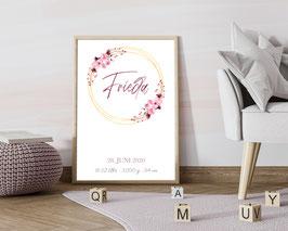 """Geburtsposter """"Floral 2"""""""