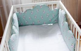 Baby Bettumrandung ** Elefant ** mint - grau