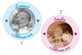 Baby Aufkleber | personalisierbar mit Foto - Herzchen
