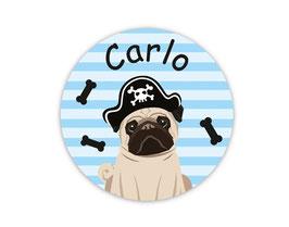 Namensaufkleber rund | Mops Pirat