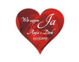 Hochzeitsaufkleber Herz  | romantische Rosen - rot