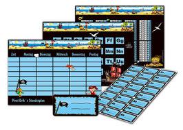 4 er Schulset:  Stundenplan + Lernposter + Aufkleber | Pirat blau