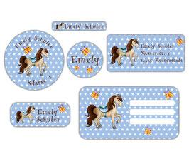 Schulaufkleber - Set | Pferd Sterne - blau