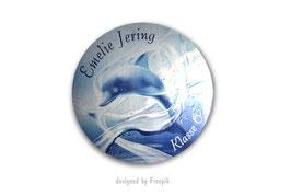 Namensaufkleber Silberfolie rund  | Delfin