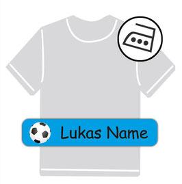 Bügeletiketten 1 x 5 cm | Fußball - blau
