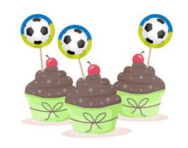 Kuchendeko  - selbstklebend  | Fußball blau-grün