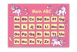 ABC Lernposter | Einhorn - rosa