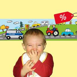 B-Ware | Selbstklebende Kinderbordüre | Fahrzeuge - Polizei - 2,80  m