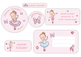 Schulaufkleber - Set | Kleine Ballerina - rosa