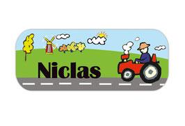 Namensaufkleber 2 x 5 cm | Traktor