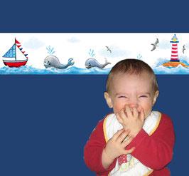 ECO - Kinderbordüre | Wale - Leuchtturm - Segelboot
