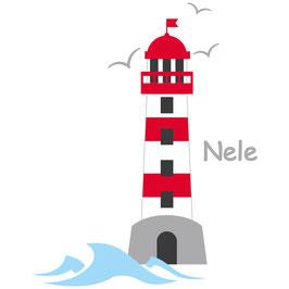 Wandaufkleber | Leuchtturm rot - Möwen & Wunschname