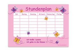 A4 Stundenplan | Schmetterlinge rosa