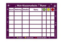 A4 Klassenarbeitsplaner - abwaschbar | Sterne - aubergine
