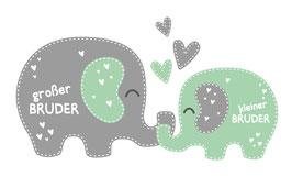 Geschwister - Wandaufkleber | Elefanten | großer Bruder - kleiner Bruder
