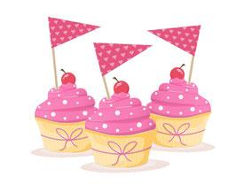 Kuchenfähnchen - selbstklebend  | Wimpel - Herzchen - rosa