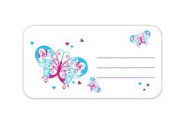 Heftaufkleber 4,4 x 8,4 cm | Schmetterlinge - weiß