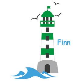 Wandaufkleber | Leuchtturm grün - Möwen & Wunschname