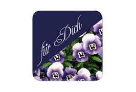 Geschenkaufkleber - eckig   lila Hornveilchen - Für Dich