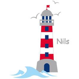 Wandaufkleber | Leuchtturm blau/rot - Möwen & Wunschname