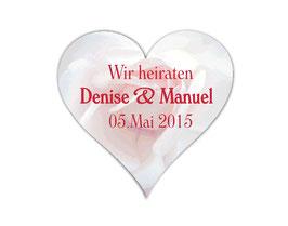 Hochzeitsaufkleber Herz  | romantische Rosen - rosa / weiß