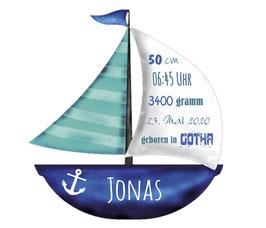 Wandaufkleber | Segelboot mit Geburtsdaten - blau türkis