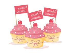 Kuchenfähnchen - selbstklebend  | Herzlichen Glückwunsch -  rosa