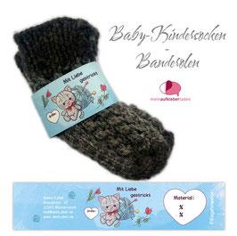 6 Sockenbanderolen | Mit Liebe gestrickt - Kätzchen hellblau - personalisierbar & transparente Klebepunkte