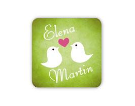 Hochzeitsaufkleber - eckig | Turteltauben mit Herz - grün