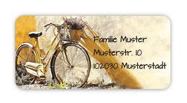 Adressaufkleber eckig  | Nostalgisches Fahrrad