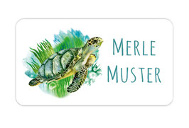 Namensaufkleber 2,5 x 4,5 cm | Meeresschildkröte - Aquarell