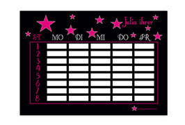 A4 Stundenplan | Sterne schwarz-pink