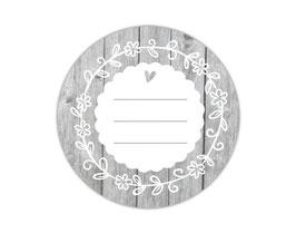 Etiketten rund | Holzoptik - mit Blumenornament - zum selbstbeschriften