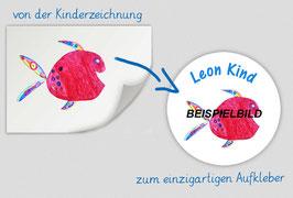 Namensaufkleber rund - 5 cm Ø | mit eigener Kinderzeichnung